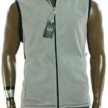 New Mens  Club Room Classic Fleece Silver Combo  Full Zip Sweater Jacket Vest L  Photo