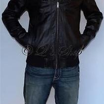 New Mens Guess Black Faux Leather Insulated Jacket Detachable Hood Large Photo