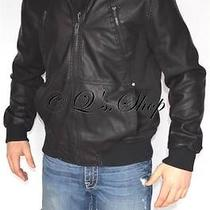 New Mens Guess Black Faux Leather Insulated Jacket Detachable Hood Size Large Photo