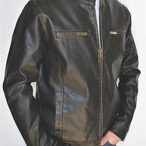 New Mens Guess Brown Motorcycle Style Insulated Faux Leather Jacket Small Photo