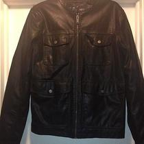 New Mens Guess Faux Leather Insulated Black Jacket Size S Photo