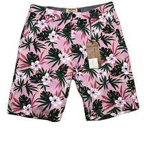 New - Mens Hudson & Barrow Hawaiian Floral Pink Casual Shorts Size 32 Nwt Photo