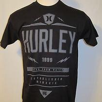 New Mens Hurley Black Short Sleeve Cotton Tee T-Shirt Large Photo
