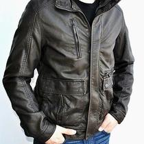 New Mens Kenneth Cole Faux Leather Insulated Jacket Coat Detachable Fur Collar M Photo