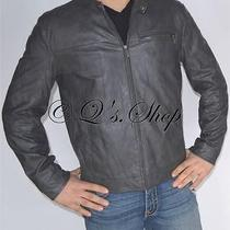 New Mens Kenneth Cole Faux Leather Insulated Jacket Gray Size Large Photo