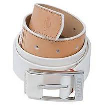 New Mens Puma Golf Ferrari Color Blocked Leather Belt White Size Small Photo