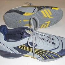 New Mens Puma Gray Navy Yellow Faux Leather Mesh Shoes Sneakers 13 Photo