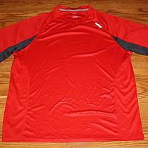 New Mens Reebok Red Gray Stripe Crew Neck Hydromove Short Sleeve T-Shirt Sz L Photo