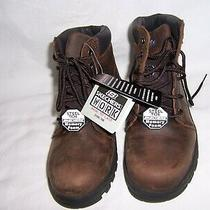 New Mens Skechers 76561 Brown Leather Relaxed Fit Steel Toe Work Boots Size 8 Photo