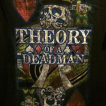 New Mens Theory of a Deadman Skull King of Hearts Cards Rockband Black T-Shirt M Photo