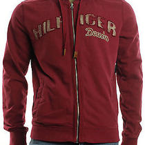 New Mens Tommy Hilfiger Denim Biking Red Full  Zip Hooded Track  Jacket Xl Photo