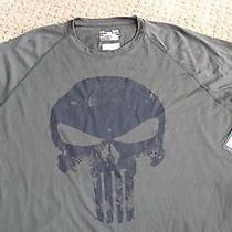 New Mens Under Armour Alter Ego Punisher Team Shirt Sz L Olive/black Marvel Photo