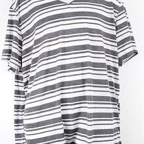 New Mens v Neck T Shirt L Large Inc Gray Stripes v-Neck T-Shirt Photo