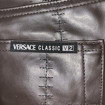 New Mens Versace Classic V2 Dark Briwn Pants Sz 40x32 Italy Stitch Big & Tall Photo