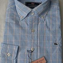 New Mens Vineyard Vines Whale Archboard Check Newport Blue  Shirt Small   98.50 Photo