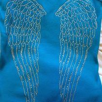 New Miami Style Aqua Blue Angel Wings Tank Top - Medium  Photo
