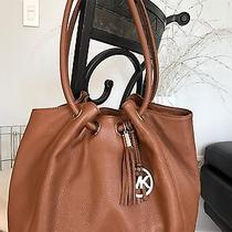 New Michael Kors Bark Tan Leather Shoulder Bag Ring Tote Purse Handbag Photo