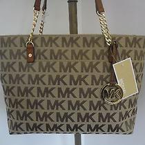 New Michael Kors Beige/ebony Jet Set Chain Signature Jacquard Tote Bag W/charm Photo