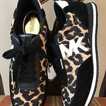 New Michael Kors Black Suede Gold Leopard Haircalf Lace Up Sneakers - Size 7m Photo