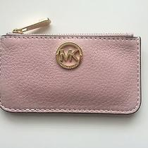 New Michael Kors Blush Pink Leather Coin Purse Key Pouch Photo