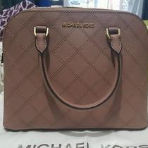 New Michael Kors Cross Stitch Cindy Medium Dome Handbag 278 Blush Dusty Rose Photo
