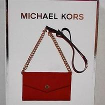 New Michael Kors Electronics Red Leather Iphone Case Wallet Crossbody Bag in Box Photo