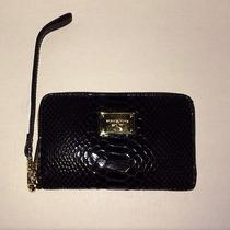 New Michael Kors Essential Zip Wallet for Apple Iphone Black Python  Photo