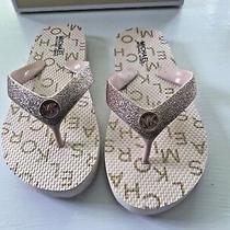 New-Michael Kors-Girls Flip-Flops Blush/ Rose Gold Glitter  Girls Size 13 M Photo