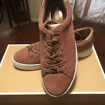 New Michael Kors Irving Lasered Suede Lace Up Sneaker in Dusty Rose Size 7.5 Photo