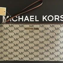 New Michael Kors Jet Set Lg Zip Clutch Wristlet Bag Mk Logo Natural/luggage 98 Photo