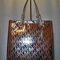 New Michael Kors Jet Set Ns Mirror Metallic Tote-Rose Gold-228 Msrp-Shoulderbag Photo
