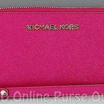 New Michael Kors Jet Set Travel Large Phone Case Wristlet Wallet Raspberry Photo