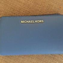New Michael Kors Jet Set Travel Slim Bifold Wallet Leather French Blue Photo