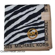 New Michael Kors Licensed Handkerchief / Mini Scarf Zebra Print Blk Japan-Made Photo