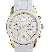 New Michael Kors Mercer Womens Mk5889 White Silicone Chronograph Quartz Watch Photo