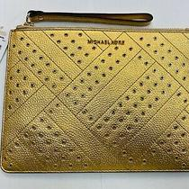 New Michael Kors Mk Jet Set Travel Xl Zip Clutch Wristlet Gold  Nwt Photo