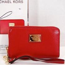 New Michael Kors Multi-Function Essential Zip Iphone Wallet Saffiano Red in Box Photo