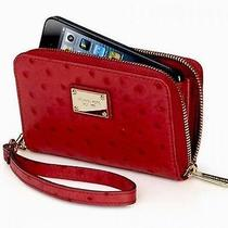 New Michael Kors Ostrich Print Leather Zip Wallet Wristlet Iphone Photo