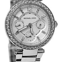 New Michael Kors Parker Womens Mk5615 Silver Chronograph Quartz Watch Photo