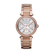New Michael Kors Parker Womens Mk5616 Rose Gold Chronograph Quartz Watch Photo