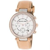 New Michael Kors Parker Womens Mk5633 Brown Leather Strap Chronograph Watch Photo