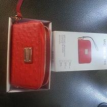 New Michael Kors Wristlet Essential Zip Wallet for Apple Iphone Red Ostrich Photo
