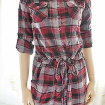 New Miley Cyrus by Bcbg Maxazria Shirt Dress Flannel Grunge Women's Clothing M Photo