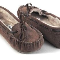 New Minnetonka Kayla Chocolate Suede Faux Fur Moccasins Loafers Slippers 5 M Photo