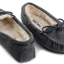New Minnetonka Kayla Womens Suede Faux Fur Moccasins Loafers Slippers Shoes 5 M Photo
