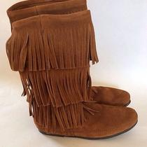 New Minnetonka Moccasin 3 Layer Fringe Tan Brown Suede Mid Calf Boots Size 10 Photo