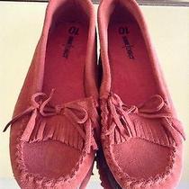 New Minnetonka Orange Leather Upper Shoes Size 10 Photo