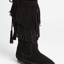 New Minnetonka Two Layer Fringed Boot Color Black Size 6 Photo