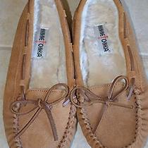 New Minnetonka Women's Light Brown Suede Leather Moccasins Slippers Sz 9 Photo