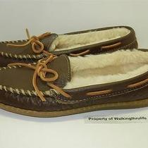 New Minnetonka Womens Sz 9 M Brown Leather Fur Lined Flats Mocs Driving Loafers Photo